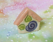 Tiny Tile Flower Purple Plum Green Leaves Peach Coral Top Stoneware Clay
