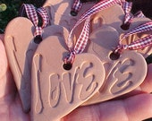 5 LOVE Heart Ornaments Natural Brown Stoneware Clay Country Burgundy Checked Ribbons