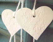 Wedding Garland Heart Ornaments Wedding Supplies MADE to ORDER Porcelain 7 Decorative Lace Design Handmade Hearts Natural Cotton String