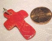 Tiny Crimson Red Cross Pendant Easter Christian Handcrafted Pottery