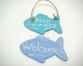 Fish Shape CHALKBOARD Choose ONE Magnet or Hanging Beach Fisherman Theme
