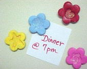 4 Tiny Flower Magnet Decorations Pink Red Yellow Blue