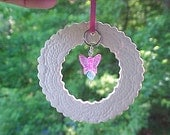 Lacy White SunCatcher Porcelain Ornament Charms & Beads Baby Gift Wedding Favor