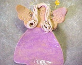 Pottery Kitchen Angel Ornament Platinum Blonde Fuchsia Orchid Dress Small Ethnic Brown Stoneware