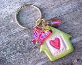 Keychain Red Heart Key Ring (Lime Green and Light Blue READY NOW) Little Clay House KEYChain Pottery