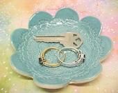 READY NOW Lacy Aqua Turquoise Flower Shape Dish Glazed Porcelain Cupcake Plate Ring Key Holder