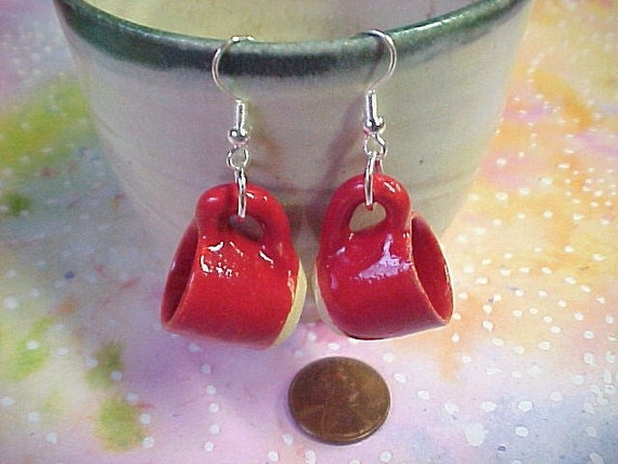 RED Teacup Earrings Miniature Pottery Wheelthrown Stoneware Collectible