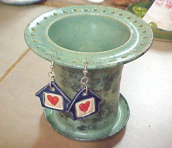 Earring Holder Jewelry Organizer Seafoam Green Handmade Stoneware Pottery