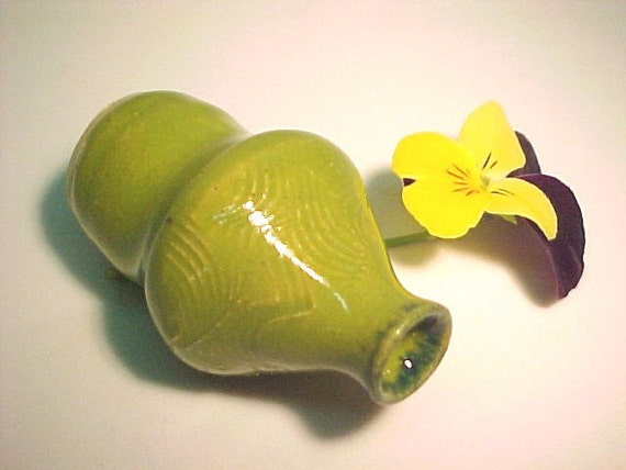 Lime Green Mini Pottery Vase Mother's Day Gift Collectible NOT Dollhouse Scale