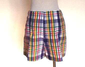 70s Shorts Vintage Seersucker Shorts Plaid Shorts Sz M