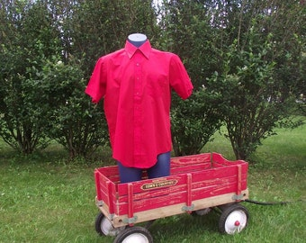 60s Mens Shirt Vintage Deadstock Bold Red Dead Stock Darwin 50 Inch Chest