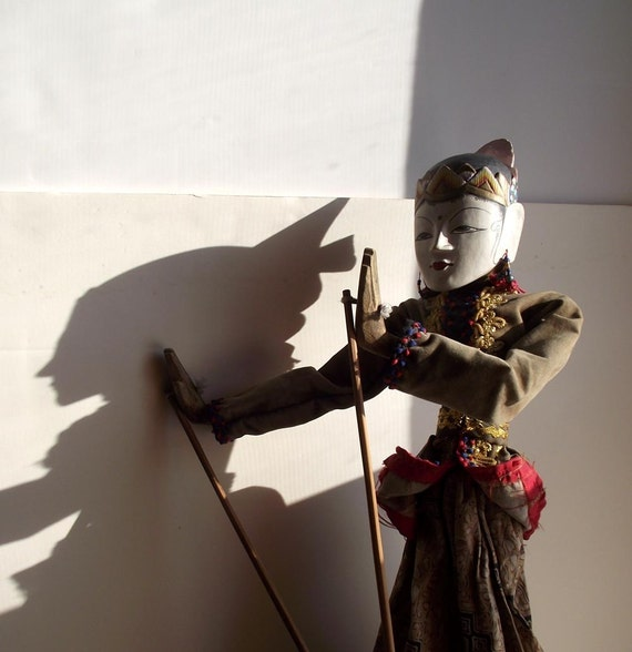 Vintage Shadow Puppet. Indonesian Puppet. Wayang Golek