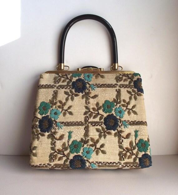 Reserved for JagJess. Vintage 50s 60s Handbag. Ladylike Beaded Purse.