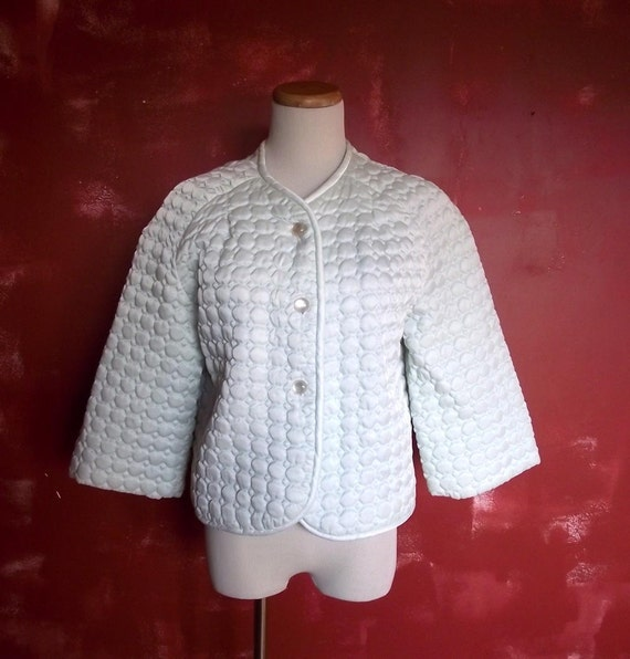 Vintage 1960s Barbizon Bed Jacket Pretti Puff. Ice Blue. Sz M