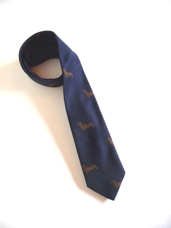 Vintage 80s Dachshund Necktie. Chippmunk Creations