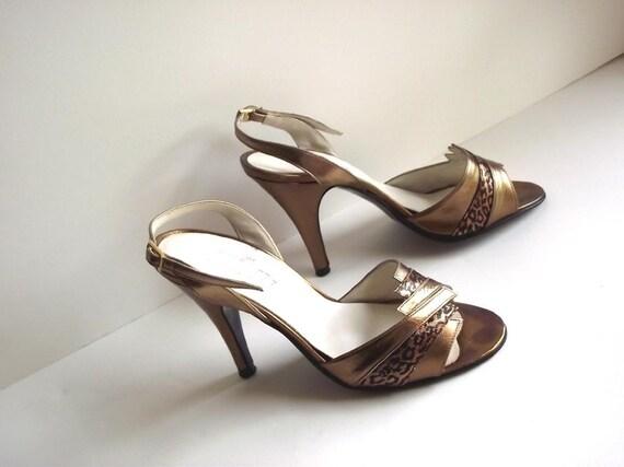 1980s 90s Dress Shoes Gold Leopard Print Sandal Heels
