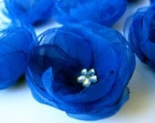 8 pcs. Roses with Royal Blue/Sapphire  Organza Fabric