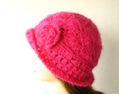 Beautiful Crocheted Fuchsia Hat