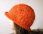 Beautiful Crocheted Orange Hat / Beanie