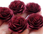 5 pcs. Roses with  Red Wine Satin Fabric