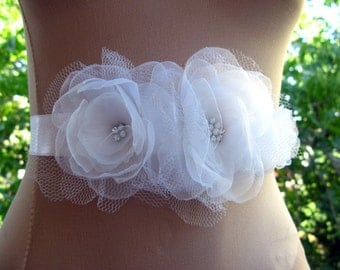 Bridal Sash, Wedding Sash with White Organza Fabric and Tulle , Rhinestones in Center- Made to Order