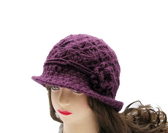 Beautiful Crocheted Hat in Plum Purple