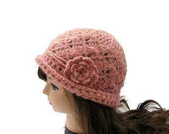 Beautiful Crocheted Hat in Peach Color