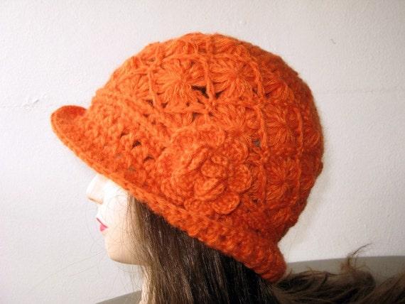 Beautiful Crocheted Orange Hat / Beanie