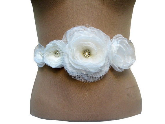 Romantic Bridal Sash with Ivory Organza Fabric, Tulle , Rhinestones,Swarovski Crystals,Glass Pearls  in the Center