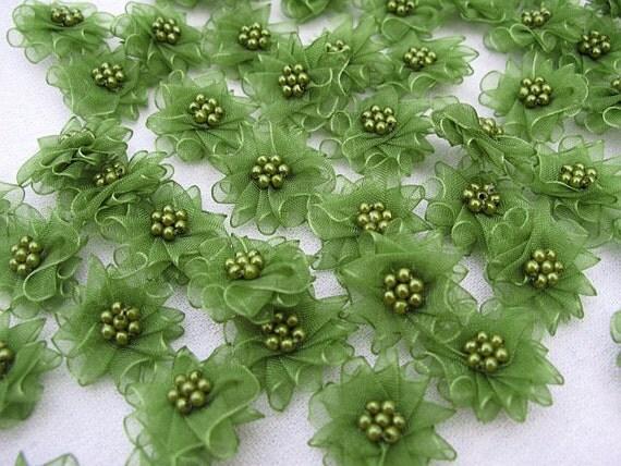 24 pcs- Mini Flowers with  Green Organza Ribbon