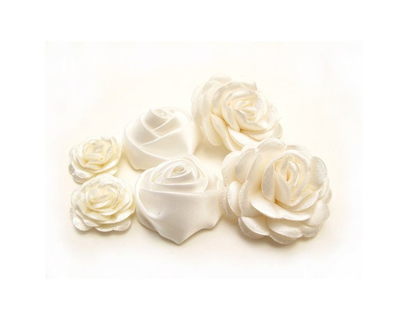 6 pcs. Flowers with  Ivory Satin Fabric