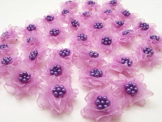 30 pcs- Mini Flowers with in Lilac Organza Ribbon