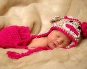 Hand Crocheted Sock Monkey Hat/Diaper Cover Set