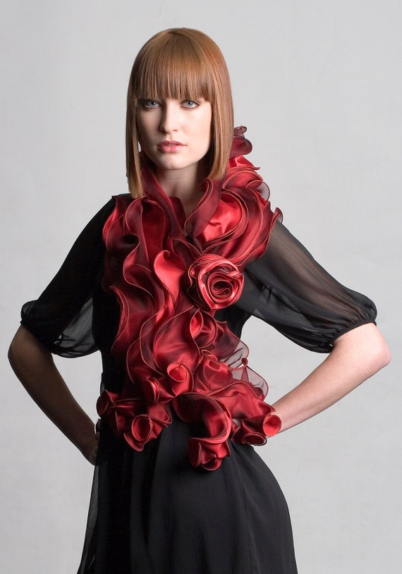 Scarf - Handmade, sculptural, silk evening wrap - Red - Style name 'Buttercup Wide'