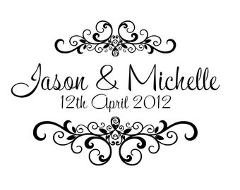 Personalized Custom Handle Mounted wedding rubber stamps W12