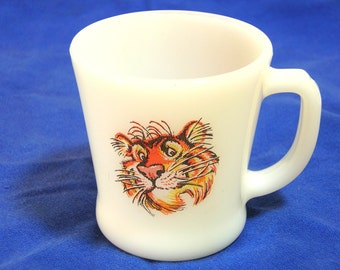 Fire King Milk Glass Mug With Esso Exxon Gas Tiger