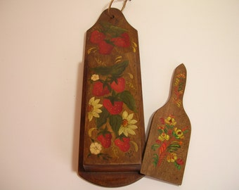 Folk Art  Painted Wall Box And Cutting Board, Vintage Country Americana