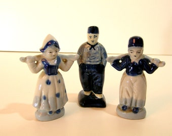 Blue Deflt Stoneware Dutch Figurines