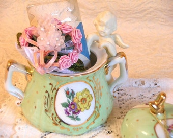 Green Vintage Sugar Bowl Filled with Treasures, Doily, Cherub, Ribbon Roses, Tassel, RickRack