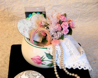 Vintage Sugar Bowl Filled with Treasures And Trinkets