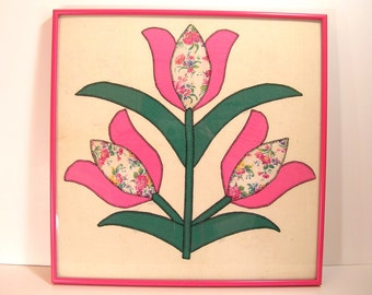 Framed Tulip Quilt Square Cottage Style Wall Decor