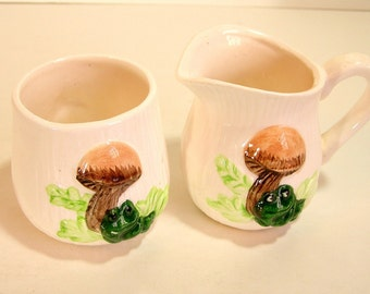 VIntage Ceramic Mushroom Sugar And Creamer