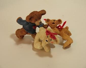 Three Bear Figurines Kurt Adler Toy Room Collection