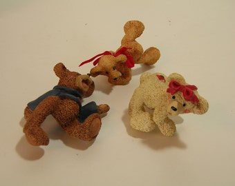 Three Bear Figurines Kurt Adler Toy Room Collection