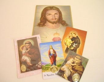 Vintage Religious Cards And Medals