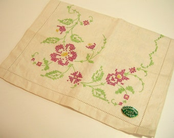 Linen Table Runner With Pink Cross Stitch Flowers
