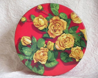 Tin Box with Yellow Roses