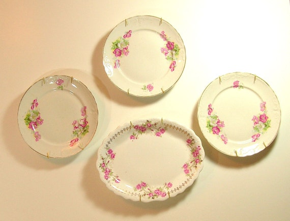 Vintage Floral Plates Cottage Style Wall Decor Wall