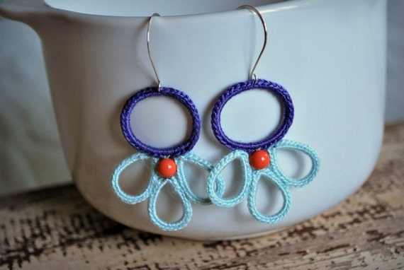 Swarovski Pearl Crochet Earrings in Lavender, Aqua and Coral. Lightweight Jewelry. Boho Modern