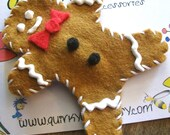 Gingerbread Man Hairclip - Wool Felt